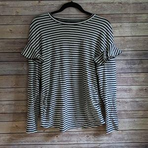 H&M Maternity Black & White Long Sleeve Stripe Top
